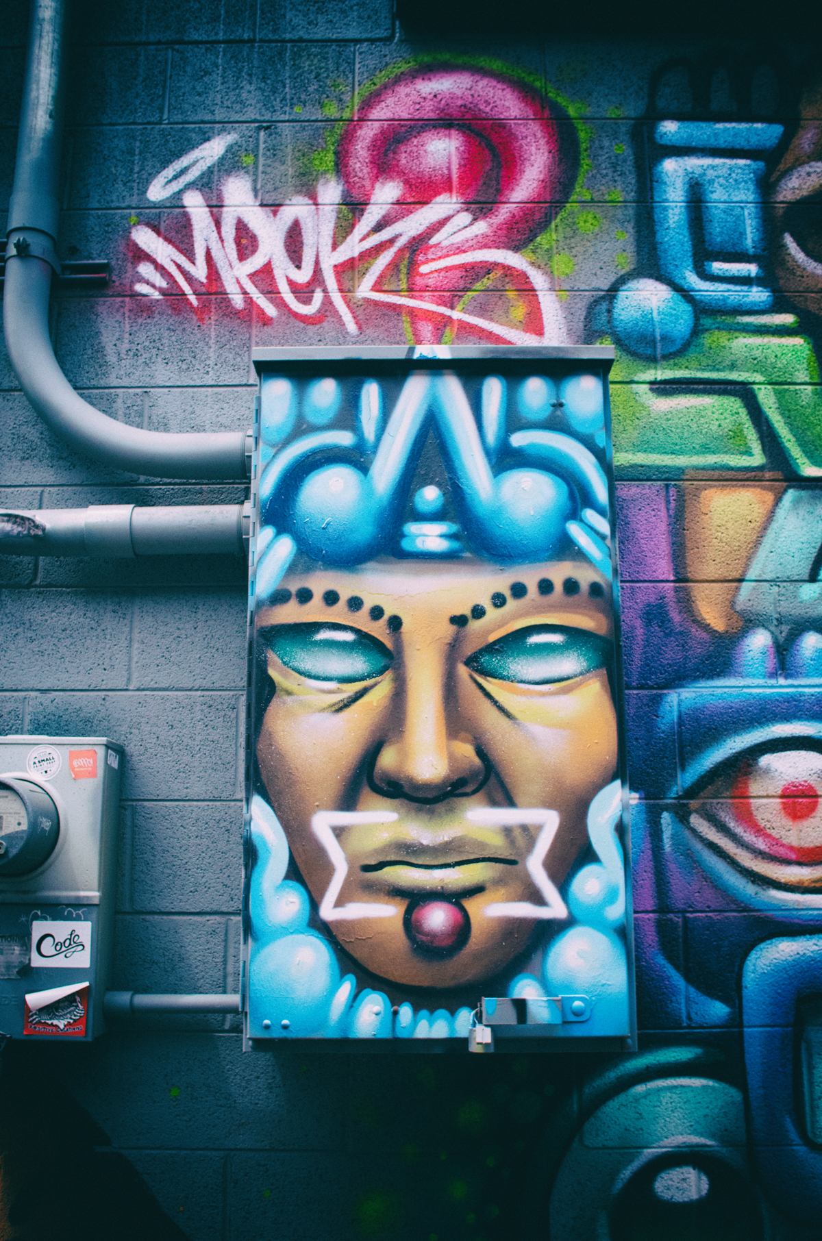 Colorful street art adorns many an alleyway in Denver, CO.