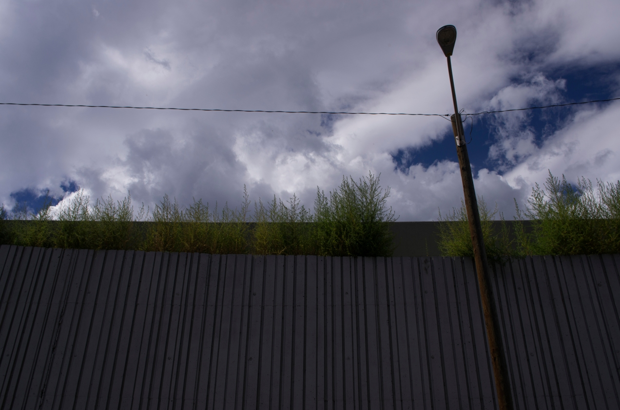 DENVER,Colo-September 7, 2014-Weeds grow on top of a high wall surrounding the pedestrian entrance to Sports Authority Field.