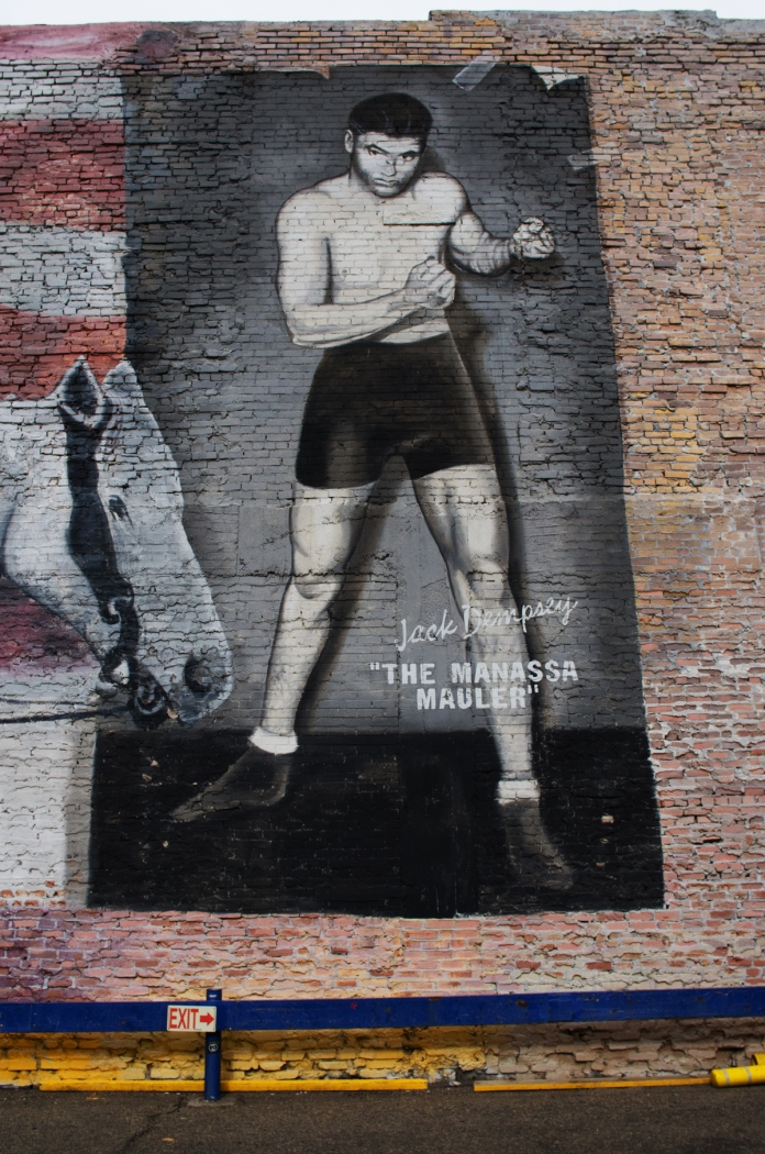 DENVER,Colo.-September 30, 2014-A mural depicting Jack Dempsey adorns the outside wall of the Bubba Gump Shrimp Company downtown. The boxing legend was born in Manassa, Colorado and held the World Heavyweight Championship from 1919-1926.